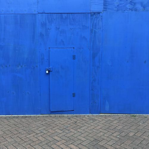 Architecture Blue Door Natural Light No People Outdoors Sidewalk Streetphotography Wall Wood - Material