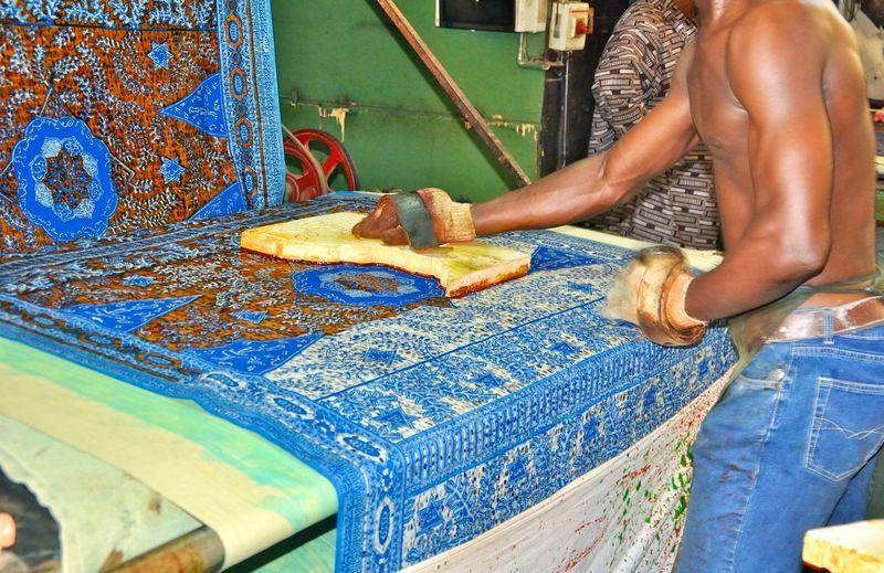 One Person Human Hand Occupation Hand Working Human Body Part Real People Holding Skill  Men Midsection Art And Craft Preparation  Textile Finger Printing Fabric Design Fabric Texture Fabrics Pattern Fabric Pattern Fabric Prints Africa Ghana