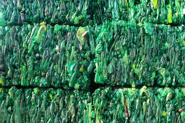 Full frame shot crushed plastic bottles