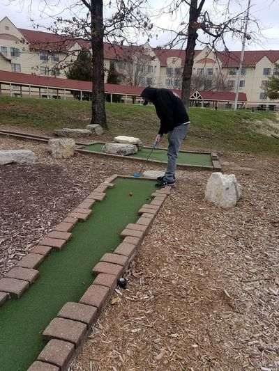 Leaves Bare Tree Putt Putt Miniature Golfing One Person Real People Full Length Day Nature Lifestyles Men Leisure Activity Field Plant Outdoors Adult Standing Grass Land Casual Clothing