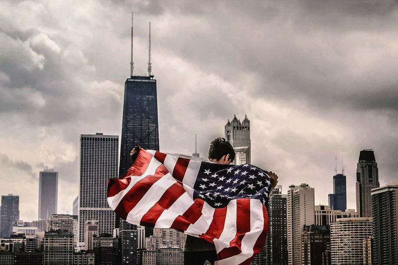 self shot in Chicago Freedom Free IdependenceDay Chicago Chicago Skyline Chicago ♥ America American Flag EyeEm Selects Love Yourself Skyscraper Urban Skyline Cityscape Architecture Modern City Patriotism Flag Cloud - Sky Travel Destinations Downtown District The Graphic City Tall - High Politics And Government Dramatic Sky Citizenship Tower Modern Art The Photojournalist - 2018 EyeEm Awards The Still Life Photographer - 2018 EyeEm Awards