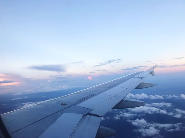 Airplane Airplane Wing Transportation Cloud - Sky Sky Journey Aircraft Wing No People Aerial View Air Vehicle Nature Travel Flying Beauty In Nature Scenics Outdoors Day Close-up