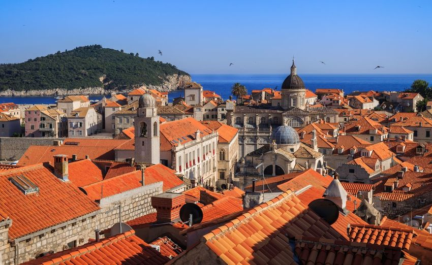 Old town Dubrovnik Dubrovnik, Croatia Jacinth Sea Architecture Building Exterior Built Structure Roof Crowded High Angle View Day Outdoors Clear Sky Tiled Roof  Sky Blue Cityscape Nature People City
