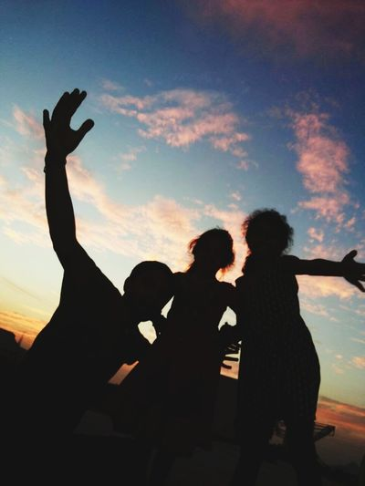 Enjoyed with the Evening.. Friendship Men Togetherness Bonding Women Sunset Young Women Couple - Relationship Silhouette Human Hand