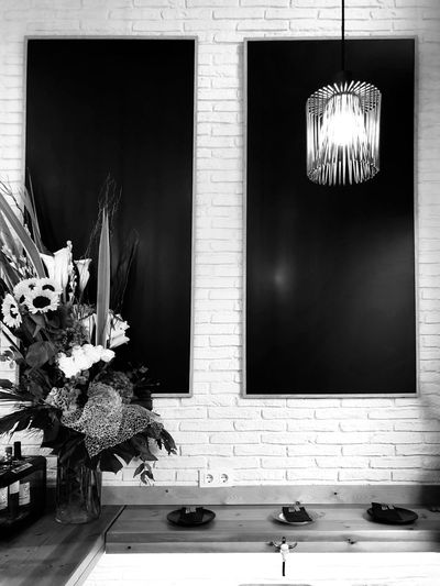Restaurant Floral Bws_worldwide BW_photography Bw_collection Black And White Black & White Blackandwhite Lights Iphoneonly Bwstyles_gf Iphonephotography IPhoneography EyeEm Gallery Eye4photography  Bw_ Collection Decoration Lamp Plant Architecture Built Structure No People Window Nature Indoors  Flowering Plant Illuminated Flower
