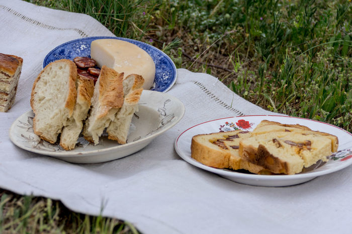 Picnic in the garden. Bread Close-up Day Flatbread  Food Food And Drink Freshness Grass Healthy Eating No People Outdoors Plate Ready-to-eat Sandwich