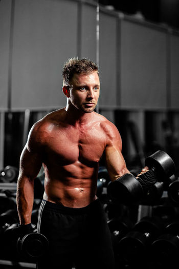 fitness man training with dumbbells workout in gym One Person Lifestyles Sport Energy Active Weight Training  Weightlifting Body & Fitness Bodybuilding BodyBuilder Motivation Fitness Males  Caucasian Gym Indoors  Bodybuildingmotivation Acitivity Pumping Muscles Strength Biceps Workout