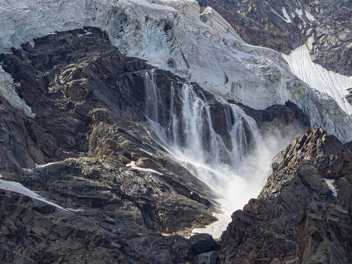 Avalanche scene in the glacier of belvedere in the italian alps