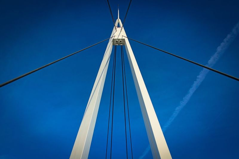 Blue Low Angle View Connection Cable No People Outdoors Clear Sky Day Transportation Sky Hanging Built Structure Suspension Bridge Architecture Mast LINE