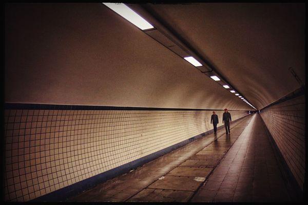 Going underground. Tunnel Vision Tunnel Pedestrian Walking Around Underground Going Nowhere Fast Vanishing Point in Antwerp Antwerpen