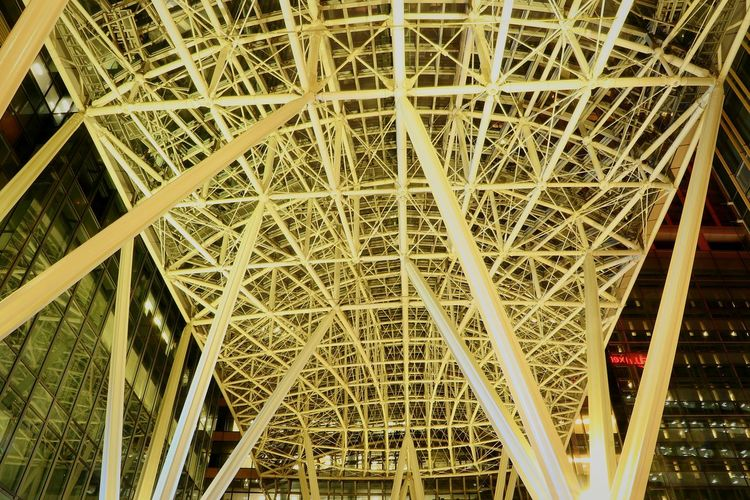 Low Angle View Built Structure Pattern Tokyomidtown Roppongi Roppongi Midtown Structure Steel Tokyo Japan Low Angle View