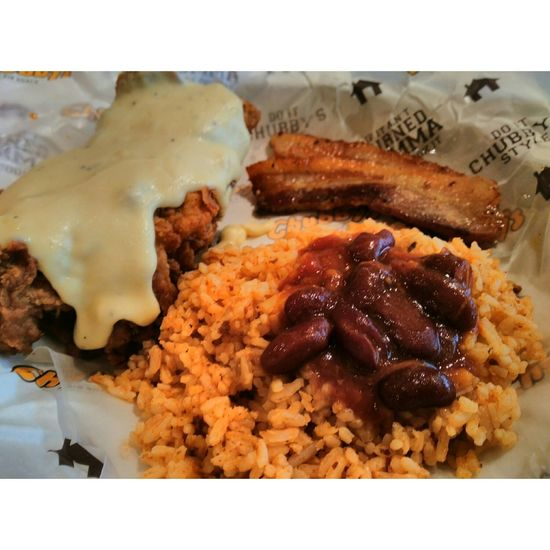 Southern Fried Chicken with Bacon at Chubby's Rib Shack Southern Fried Chicken Bacons Breakfast ♥