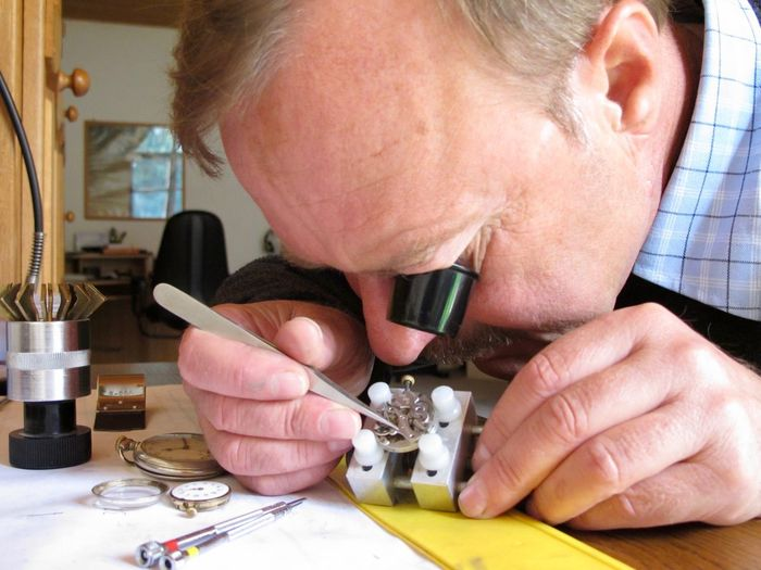 Watch Repair Hobby Watch Repair Watchmaker Indoors  Holding Technology Close-up Equipment Magnifying Glass Human Body Part Concentration Men Examining One Person Senior Men Looking Human Hand Senior Adult Headshot