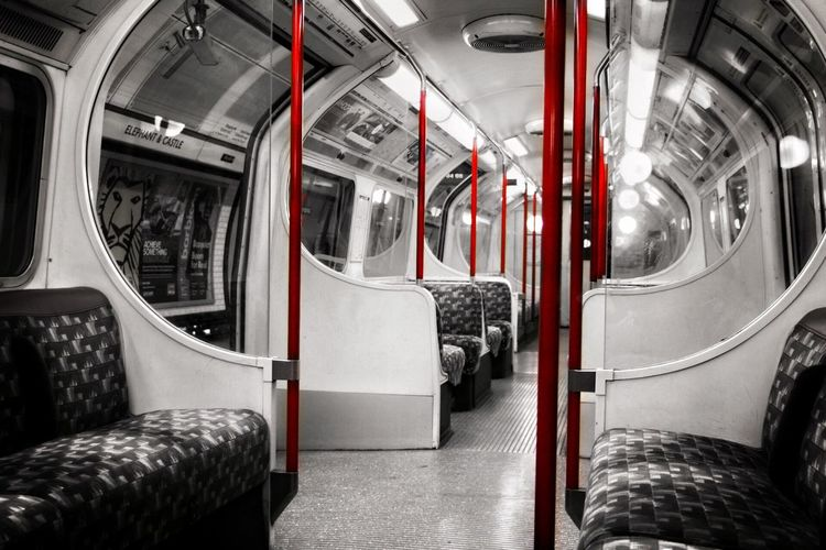London Underground Transportation Public Transportation Vehicle Interior Train - Vehicle Subway Train Rail Transportation Mode Of Transport No People Vehicle Seat Commuter Train
