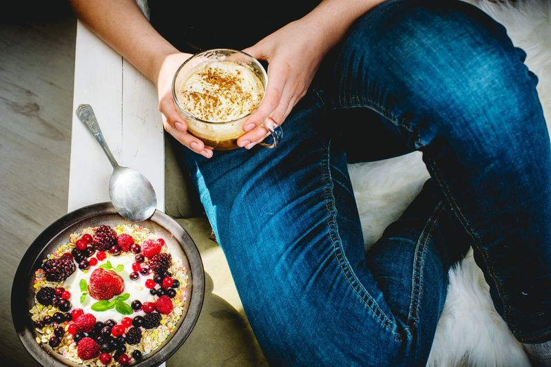 sunny, spring morning, lets eat breakfast Breakfast Calories Diet Healthy Lifestyle Healthy Eating Mittagstisch Lunch Food Essen Mittagessen Nature Spring Healthcare Vitamin Morning Human Hand Low Section Fruit Drink Human Leg Holding Midsection High Angle View Close-up Served Pastry