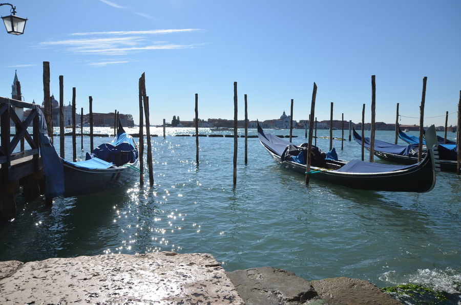 Canal Cloud - Sky Cultures Day Gondola - Traditional Boat Nature Nautical Vessel No People Outdoors Sea Sky Sunshine Transportation Travel Travel Destinations Venezia Venezia #venice Water