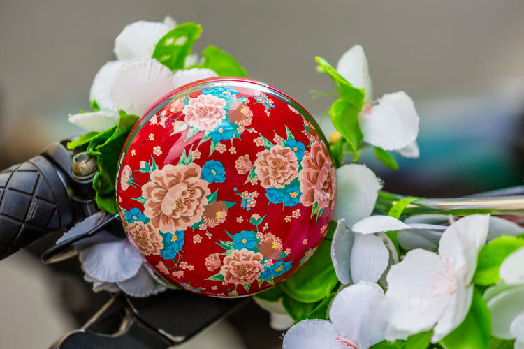Detail Shot Of Floral Bicycle Bell