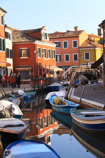 Venice landsmark, Burano island canal and colorful houses. Building Colors Burano Colorful Exterior Holiday House Houses Houses And Windows Italia Italian Italy Italy Holidays Landmark Paint Reflection Tourism Traditional Travel Vacation Venetian Venice Venice Canals View Vivid Colors Vivid Colours