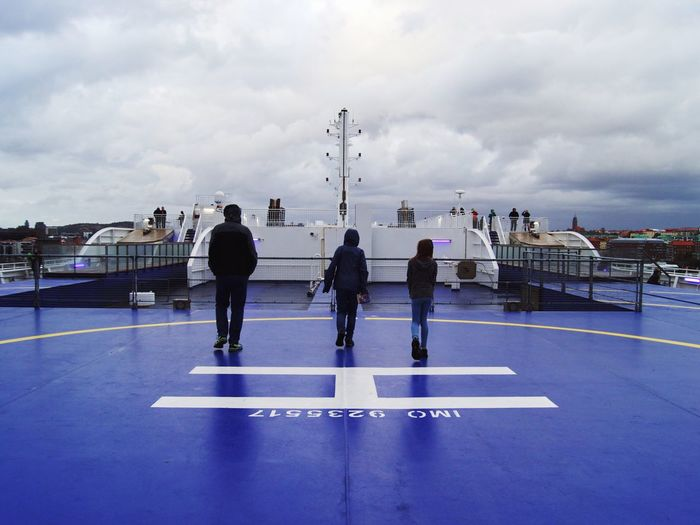 Walking against the wind - on deck Stenaline On Deck Ferryboat Ferry Cloud - Sky Sky Real People Nature Group Of People Crowd Day Transportation Travel Mode Of Transportation