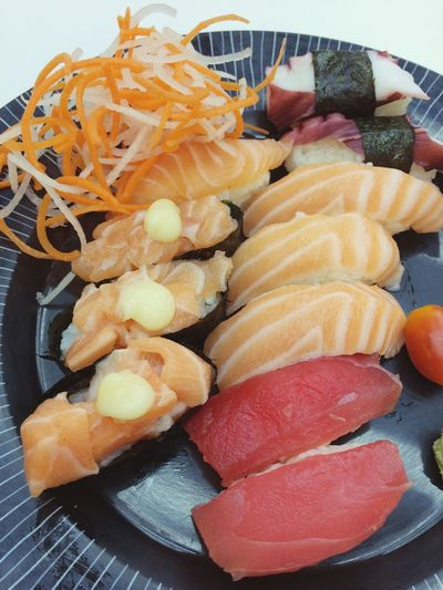 Salmon Sushi Salmon - Seafood Sushi Food And Drink Food Freshness Ready-to-eat Indoors  Still Life Healthy Eating High Angle View Plate No People Close-up Seafood Choice Variation Serving Size Japanese Food