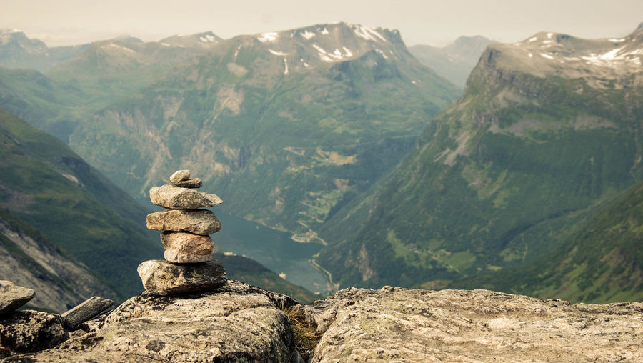 Stack Of Stones On The Top Of A Mountain