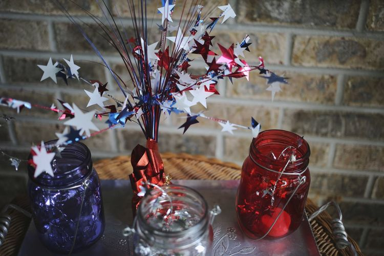 Stars And Stripes Americana USA Independence Day Stars And Stripes Red White And Blue 4th Of July Tennessee Flower No People Plant Indoors  Glass Flowering Plant Fragility
