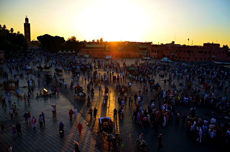 A normal evening in Marrakech. But the lights are more than beautiful ☺️AreAdults Only Architecture City Cityscape Crowd Day High Angle View Large Group Of People Leisure Activity Market Marketplace Outdoors People Sky Sunset Travel Travel Destinations The Great Outdoors - 2017 EyeEm Awards ColeurCity Coleursunset Sommergefühle