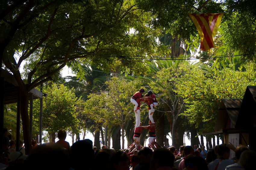 Castles in the air. Catalonia Catalunya Sony A350 Tradition Castel Climbing Crowd Crowded Enjoyment Festival Festive Fun Going Up Large Group Of People Lifestyles Moments Of Life People Real People Togetherness Traditional Traditional Festival