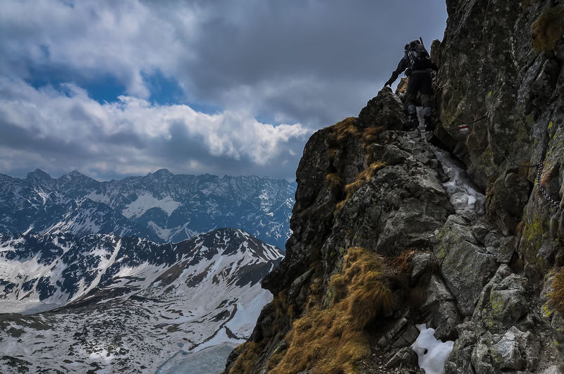 Mountaineering Tatry Adventure Beauty In Nature Cliff Climbing Cloud - Sky Day Formation Idyllic Mountain Mountain Peak Mountain Range Nature Non-urban Scene Outdoors Remote Rock Rock - Object Rock Formation Scenics - Nature Sky Solid Tranquil Scene Tranquility Be Brave