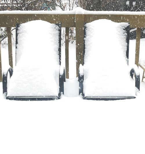 Two chairs White Snow Falling Storm Snow Bank Chairs Snow Cold Temperature Winter No People Day Close-up White Background