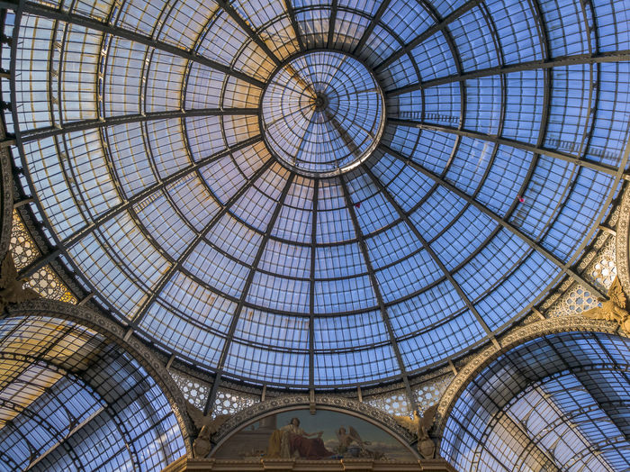 Milan, the iron-and-glass dome of Galleria Vittorio Emanuele II Architectural Design Architecture Built Structure Ceiling Concentric Cupola Day Directly Below Dome Indoors  Low Angle View No People Pattern Sky Skylight