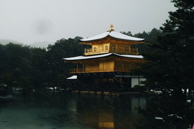 Kinkaku-Ji Temple Kyoto, Japan Architecture Building Exterior Built Structure Tree Eaves Roof No People Low Angle View Day Outdoors Sky Japan Kyoto Kinkakuji Kinkakuji Temple Travel Destinations Travel Photography Travelling Lifestyle Snow Snowing Snowcapped Nature Landscape Adventure The Great Outdoors - 2017 EyeEm Awards