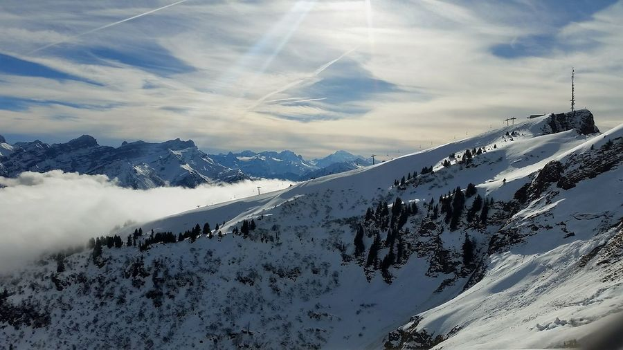 Scenic view of snow covered mountain against sky at villars-sur-ollon