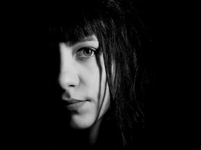 soul-searching Adult Beautiful Woman Black Background Close-up Day Eye Front View Headshot Human Face Indoors  Looking At Camera One Person People Portrait Real People Serious Studio Shot The Portraitist - 2017 EyeEm Awards Young Adult Young Women The Portraitist - 2018 EyeEm Awards