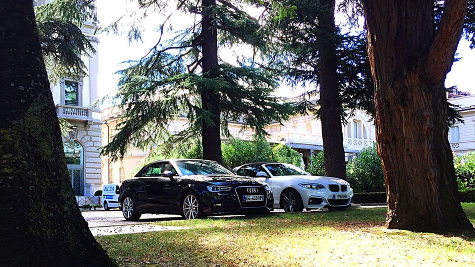 Audi & Bmw outside The Palace Hotel in Como on The Italian Tour