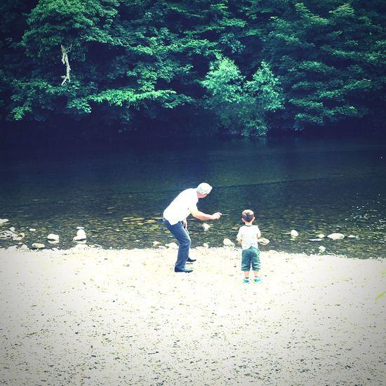 Skimming rocks River Swale Grandad Grandson First Eyeem Photo