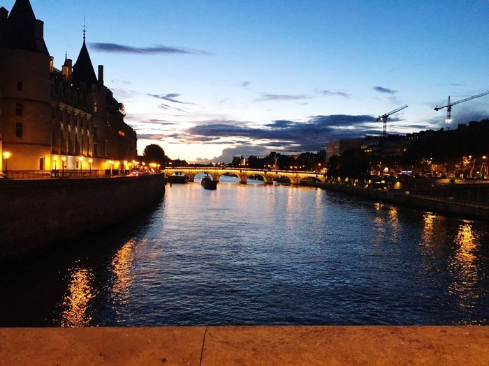 Architecture Built Structure Building Exterior Water Sky River Outdoors No People Sunset City Illuminated Nature Day Pont St Michel Paris