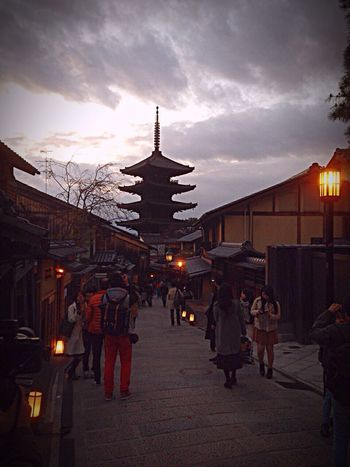 Kyoto Japan Yasaka-no-to Hanatouro Clouds And Sky Lights 京都 日本 八坂の塔 花灯路 東山