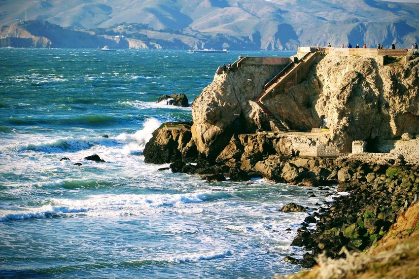 sutro baths and oceanside Blue Sky And Clouds Day Sunny Nature_collection Pathway Waves Ocean Mountains Water Sea Mountain Sky Rock Formation Rocky Coastline Rock - Object Cliff Rugged Shore Physical Geography Coast Eroded Rock