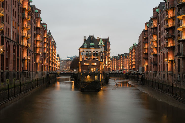 Wasserschloss at the Speicherstadt Hamburg Wasserschloss Architecture Bridge Building Building Exterior Built Structure Canal City Illuminated No People Reflection Speicherstadt Water EyeEmNewHere