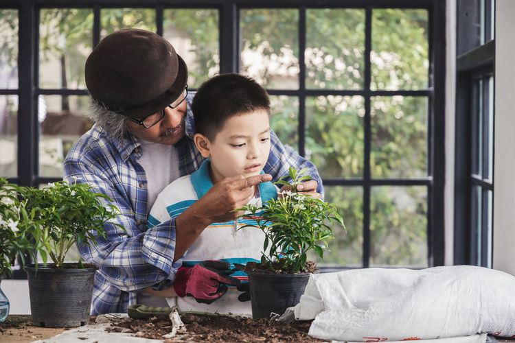 Boy and potted plants in pot