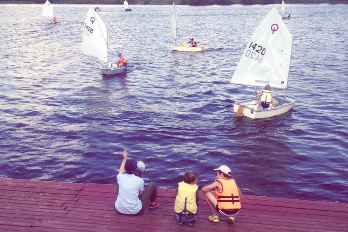 Ships Water Training Sport Volga River River Children Yachting Day High Angle View Rear View