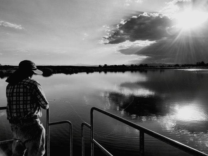 Fisherman Black And White Tranquility Landscape Sunbeam Reflection EyeEm Selects