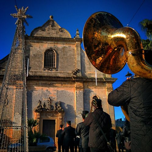 Architecture Banda Blue Building Exterior Built Structure Chiesa Church City City Life Day Illuminated Italia Italy Leisure Activity Lifestyles Low Angle View Ortelle Outdoors Puglia Salento Sky Tourism Travel Destinations