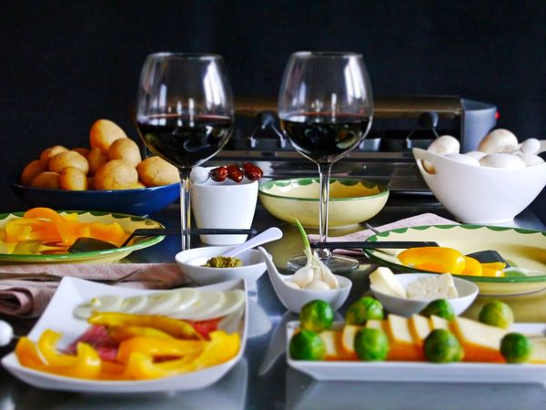 Dinner Mushrooms Red Wine In The Glas Swiss Food Bowl Brusslesprouts Cheese Choice Close-up Food Food And Drink Freshness Fruit Healthy Eating Indoor Grill Indoors  No People Plate Raclette Cooking Ready-to-eat Table Variation Vegetables