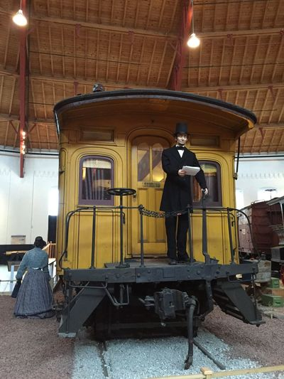 Abraham Lincoln Statue at the Train Museum . This is the actual train car Lincoln made the Ghettysburg Address from. AbrahamLincoln (February 12, 1809 – April 15, 1865) was the 16th President of the United States, serving from March 1861 until his assassination in April 1865. Lincoln led the United States through its Civil War—its bloodiest war and its greatest moral, constitutional, and political crisis. In doing so, he preserved the Union, abolished slavery, strengthened the federal government, and modernized the economy. (Wikipedia. Viewed 61215. https://en.m.wikipedia.org/wiki/Abraham_Lincoln) History Lesson History Lover