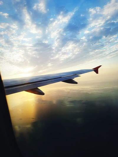 Plane Airplane Sea Kaspian Sea Summer Water Sunset Silhouette Reflection Technology Sky Cloud - Sky