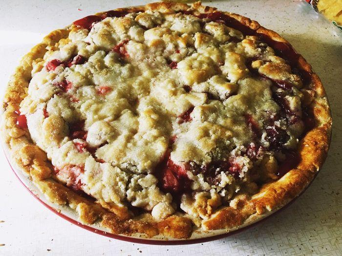 Homemade Strawberry Rhubarb Pie I made! Love Baking☺️ Pie Homemade Strawberry Strawberrypie Rhubarb Yummy Baking IPhoneography Lovelife Frommygarden Montana Rhubarb Pie Yum Yummy♡
