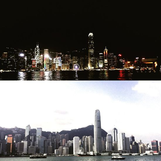 Hong Kong Night And Day City Night Day Urban Skyline City Life Travel Destinations Modern Waterfront Holiday Tsim Sha Tsui Lights Skyscraper Travel