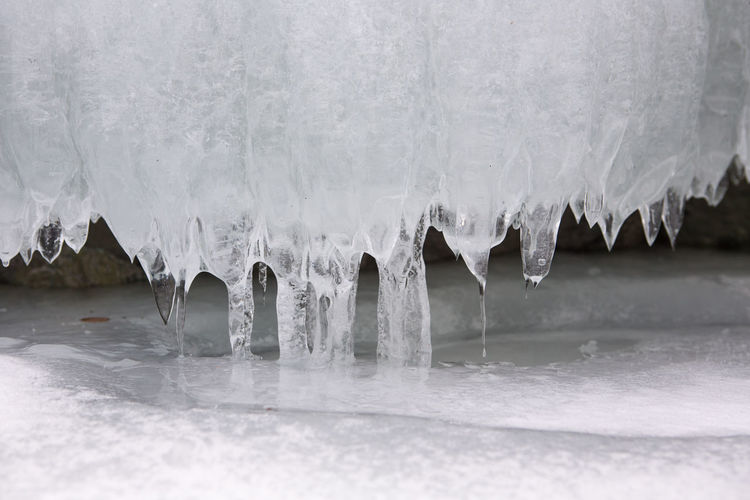 Surface level of frozen water